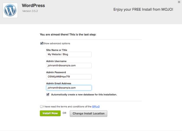 WordPress: MOJO icon in cPanel