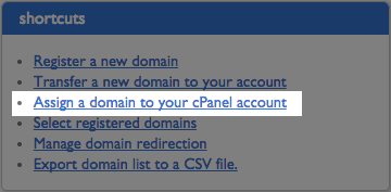 Assign a domain link.