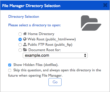 The directory selection popup.