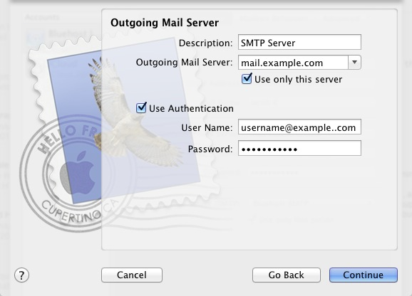 Outgoing Mail Server Window