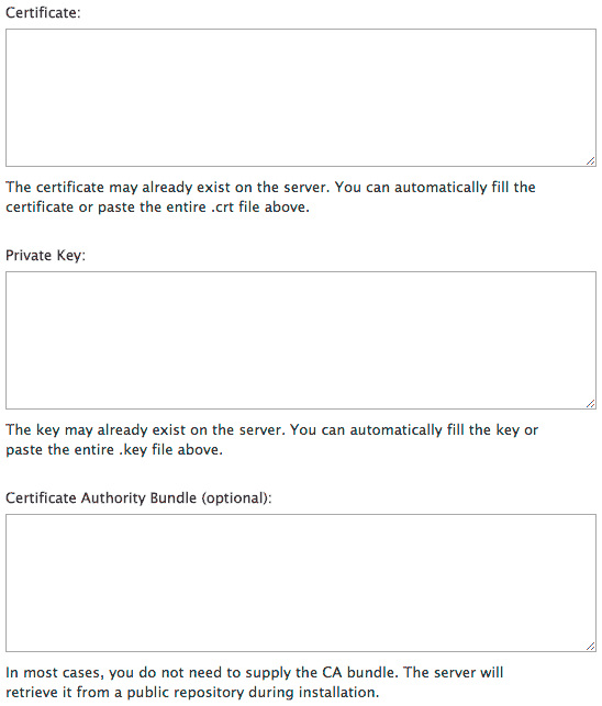 The certificate, key and CA bundle boxes.