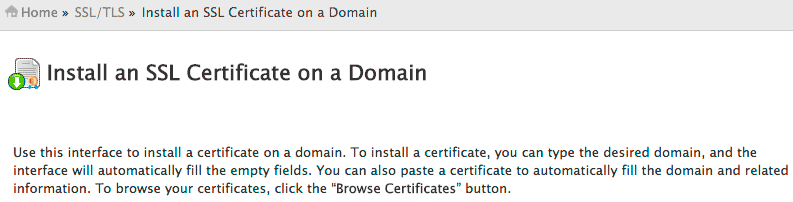 The Install an SSL Certificate on a Domain page.