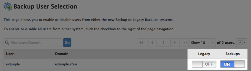 Selecting backups for users.
