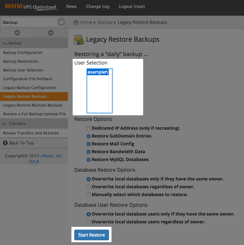 User selection and Start Restore button.