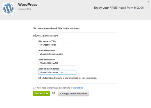 WordPress: MOJO installation, advanced options.