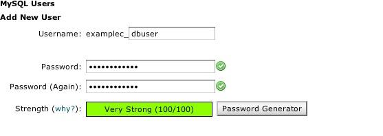Create MySQL Password