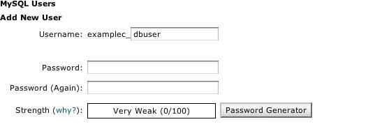 Create MySQL Username