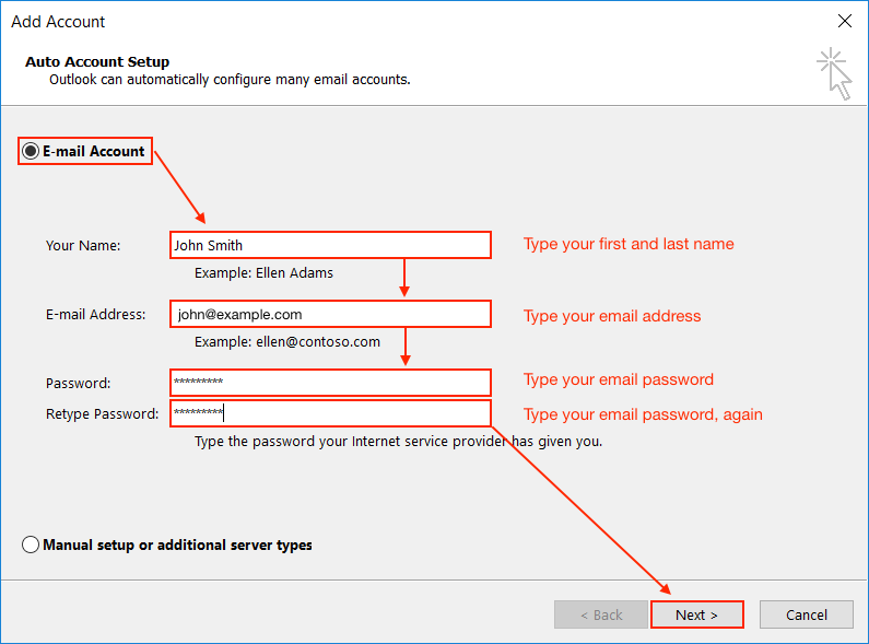 Types Of Email Accounts >> Email Application Setup Outlook 2016 For Windows Bluehost