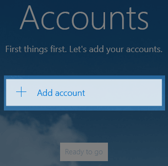 Windows 10 Mail add account button.