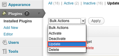 Update from Bulk Action